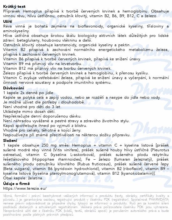 TEREZIA Hemoplus+Kys.listová cps.50+10