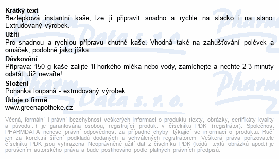 Green Apotheke Kaše pohanková 200g
