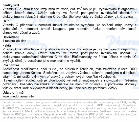 MedPharma Vitamín C 1000mg s šípky tbl.37 prod.úč.