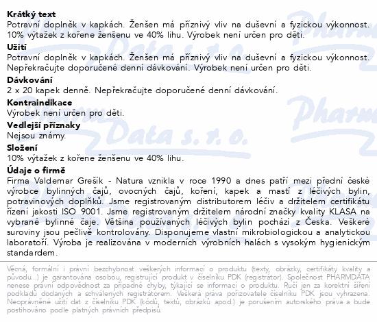 Grešík kapky Ženšen 50 ml